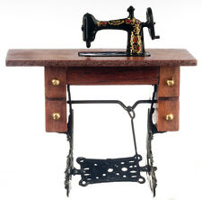 Dollhouse Miniature Sewing Machine in Cabinet w/Chair #D7780