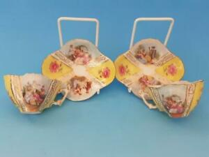 2 x SCHIERHOLZ / DRESDEN CUPS & SAUCERS - LOVE STORY COURTING COUPLES