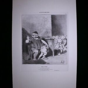 """Honore Daumier Lithograph """"DENYS LE TYRAN"""" 1842 French Newspaper"""