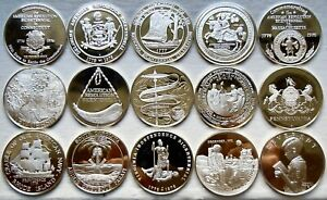 LOT OF 15 BICENTENNIAL STATES .925 SILVER PROOF MEDAL ROUNDS 10.2 TROY OZ