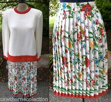 Vintage 1960s 60s Knit Top & Pleated Silk Floral Skirt Set