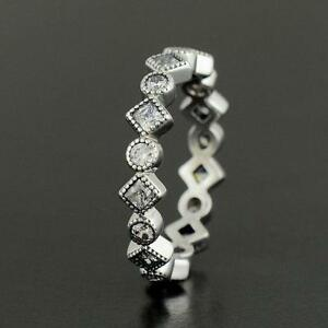 ALLURING Ring 925 Solid Sterling Silver Princess Eternity Stacking Size 8 /56