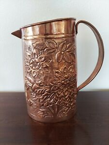 Vintage Hand Crafted Copper Water Pitcher with Embossed Flowers