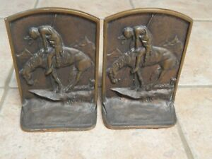 ANTIQUE CAST BRONZE ,,END OF  THE TRAIL,, INDIAN ON HORSE BOOKEND PAIR