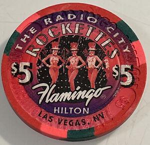 FLAMINGO HILTON RADIO CITY ROCKETTES $5 Casino Chip LAS VEGAS NV 3.99 Shipping