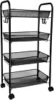 Dunatou 4-Tier Rolling Cart of Metal Mesh Wire, Utility Carts with 2 Lockable Wh
