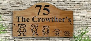 Personalized Family Name Custom Made Carved Oak Wooden Sign  House Number Plaque