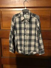The Childrens Place Boys Gray Checked Button Down Size 5-6