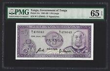 TONGA $5 Pa'anga 1989, P-21c, PMG 65 EPQ Gem UNC, B/1 478043