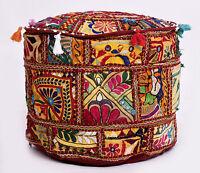 Indisch Bestickt Vintage Patchwork Sitzkissen Bequem Baumwolle Fußhocker