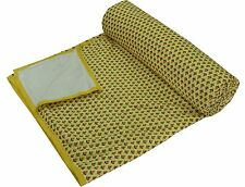 Indian Yellow Bedspread Comforter Queen Quilt Cotton Blanket With Flannel Filled