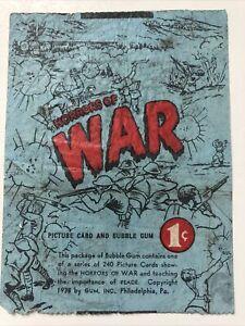 Gum Inc. Horrors of War Blue Wax Card Wrapper 1 Cent-picture Gum-vintage 1938