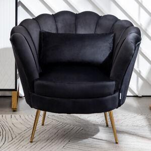 Black Upholstered Lotus Oyster Shell Armchair Velvet Soft High Back Chair Sofa