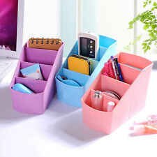Plastic Desktop Office Storage Box Case Makeup Cosmetic Organizer Holder Blue