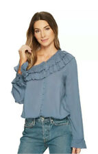 Paige M Augustina Blouse China Blue One Shouldered Tiered Ruffles