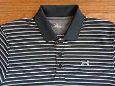 Under Armour Golf Polo Shirt, Black and Gray Stripes, Medium