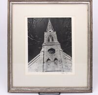Russ 1973 Signed Vtg Brick Historic Church Cathedral Art Framed B&W Photograph