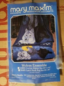 """Vintage Mary Maxim Latch Hook Kit*Wolves* No.36481 Wolves Rug ONLY* 24"""" x 36"""""""