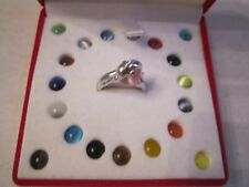 STERLING SILVER DOLPHIN RING WITH 20 DIFFERENT GEM STONES - SIZE 6 1/2 - BN-20