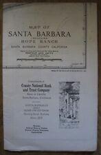 Vintage 1952 Santa Barbara Montecito Map County National Bank Penfield Smith