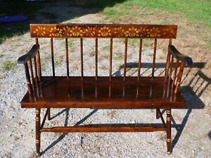 Vintage Hitchcock Style Stenciled Spindle Back Settee Solid Pine Deacon's Bench