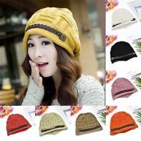 Women Lady Beret Winter Warm Baggy Beanie Knit Crochet Hat Slouch New Ski Cap