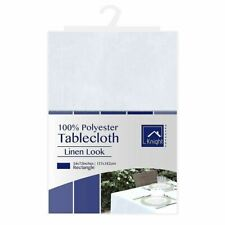 Knight Polyester Linen Look Table Cloth Party Dinner Decor Edge White Rectangle