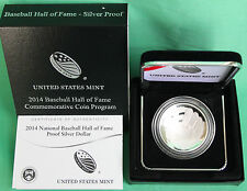 2014 National Baseball Hall of Fame Proof Silver Dollar Coin Box and Coa