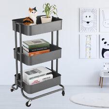 3 Tier Metal Storage Trolley Cart Kitchen Office Trolley Cart Rolling Rack Grey