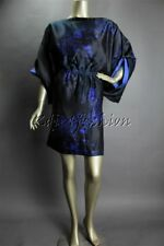 $3625 New GIORGIO ARMANI Black Blue Art Print Open Back Silk Dress 48 14