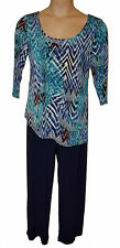 BNWT  size LARGE  ATTITUDES by RENEE NAVY MULTI 3/4 SLEEVE JUMPSUIT