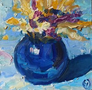 Oil painting  IMPRESSIONISM STILL LIFE BLUE ORIGINAL on stretcher