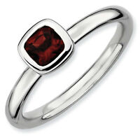 Birthstone Ring QSK458 Sterling Silver Stackable Ring High Set 4mm Garnet stone