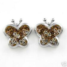 genuine crystals sterling silver butterfly earrings