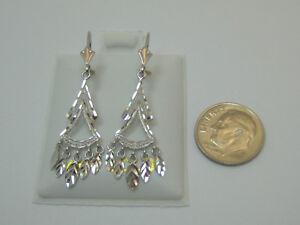 14K White Chandelier Lever Back Dangle Earrings Style 2447A