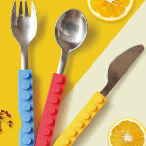 Children's tableware set knife fork spoon 3pcs / tableware silicone han Ao