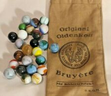 Lot of Antique German Marbles, w/Old  Bruyere Bag