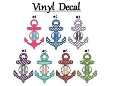 "Nautical Anchor Monogram 3"" Vinyl Decal Sticker for Car, Orca, Yeti, Cup, Glass"