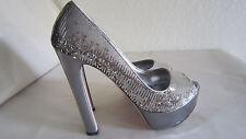 MIU MIU  PRADA $750 silver sequin platform pumps heels Italian size 381/2 US 8.5