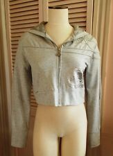 ECKORED CROPPED HOODIE JACKET GRAY SILVER LACE RHINESTONES LRG NEW FREE PRIORITY