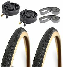 "2-Pack Panaracer Pasela Skinwall 27x1-1/4"" Road Bike Tires Tubes Rim Strips Kit"