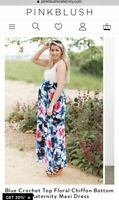 NWT Pink Blush Maternity Small Long Maxi Floral Dress Navy Blue