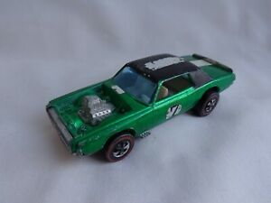 Vintage 1969 Hot Wheels REDLINE TNT Bird Ford Thunderbird GREEN / WHITE Interior