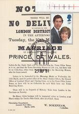 (10756) GB Postcard Cover Princess Diana Marriage NPM SS/4 23 September 1981