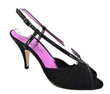 DOROTHY PERKINS LADIES PINA COLADA BLACK TEXTILE HEELS SANDALS UK 4 - EUR 37