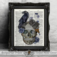 Home Decor Gothic ART PRINT ON ANTIQUE DICTIONARY BOOK PAGE Skull and Raven Art