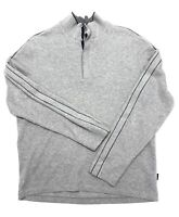 HUGO BOSS Pullover Sweater Mens Size XL Gray Cotton Mock Neck Snap Buttons