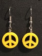 PEACE Earrings Surgical Hook New Yellow Color Howlite Dyed (small)