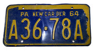 Vintage Pennsylvania License Plate New Car Dealer 1964 Great Colors And Gloss