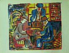 Helen Malta (1912-1975) Vintage Serigraph of Card Players Signed & Numbered